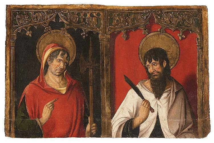 SPANISH SCHOOL, second half 15th Century, SAINT JUDE THADDAEUS AND SAINT BARTHOLOMEW, oil on panel, 52.5 x 79 cm