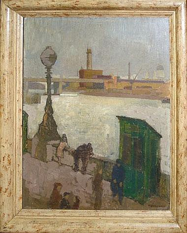 WILLIAM TOWNSEND (b.1909), 'Southbank', oil on