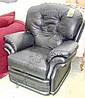 RECLINER, in black leather, by Thomas Lloyd, 101cm W.