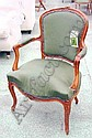 FAUTEUIL, Louis XV style beechwood, with cartouche shaped back in green fabric, on cabriole legs (stamped Caulfuty).