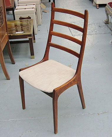 DINING CHAIRS, a set of six, Danish rosewood with