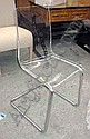 DINING CHAIRS, a set of six, perspex, on chrome