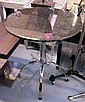 CAFE TABLE, circular granite top on chrome plated