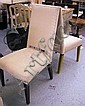 DINING CHAIRS, a set of eight, with cream studded