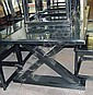 DINING TABLE, black lacquer, on 'X' framed end