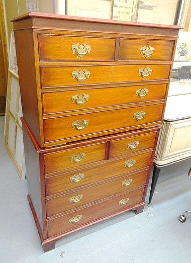 CHEST ON CHEST, in mahogany finish with four short