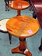 WINE TABLES, a pair, Biedermeier manner, with circular tops, triform bases, 51cm diameter. (2)