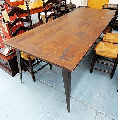 DINING TABLE, rectangular oak plank top raised on