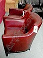 BROWN LEATHER TUB CHAIRS, a pair, with wooden detail at the bottom, contemporary, 72cm wide.
