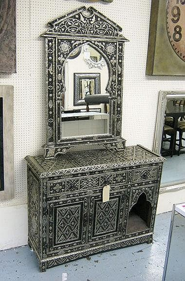 MOROCCAN CHEST, black with metal trim with two