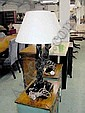 SIDE LAMPS, a pair, black marble effect, with shades, 78cm high. (2)