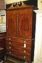 LINEN PRESS, George III mahogany, rosewood banded