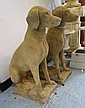 GARDEN DOG STATUES, a pair, 19th century style in