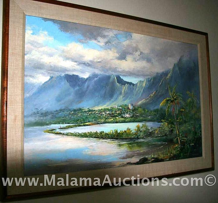 Fine Art/Ebert/ oil on canvas single matted frame in Koa wood, Oahu HI, Bay Painting