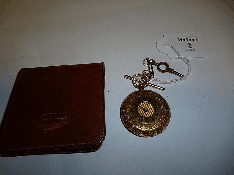 AN 18CT GOLD LADIES HALF HUNTER POCKET WATCH