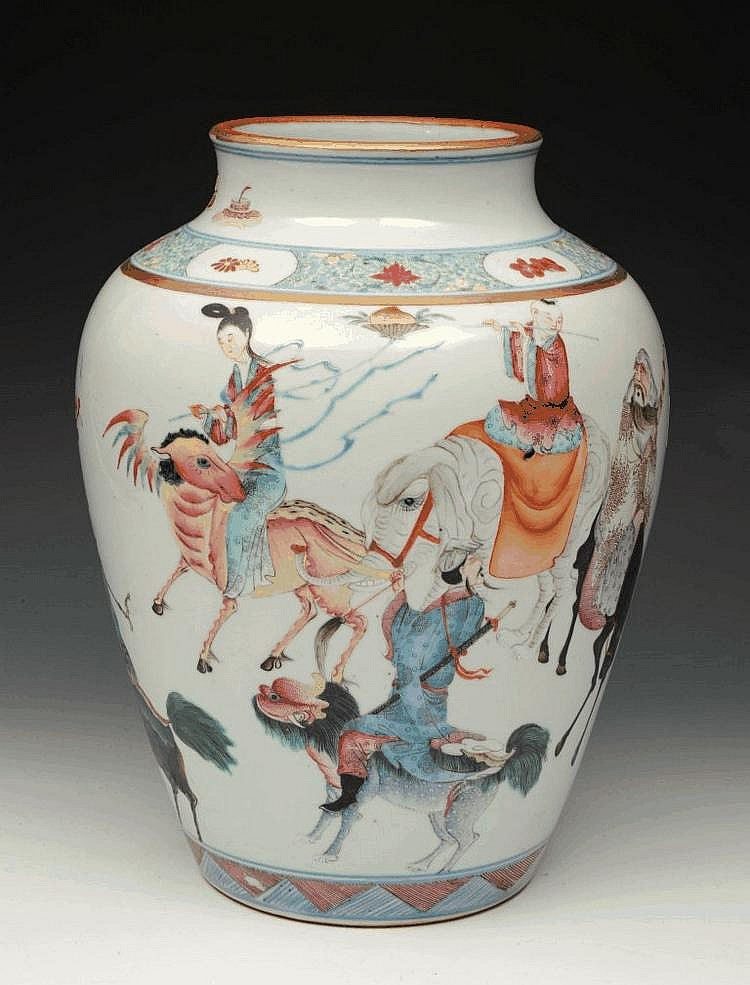 A CHINESE POLYCHROME VASE decorated in enamels
