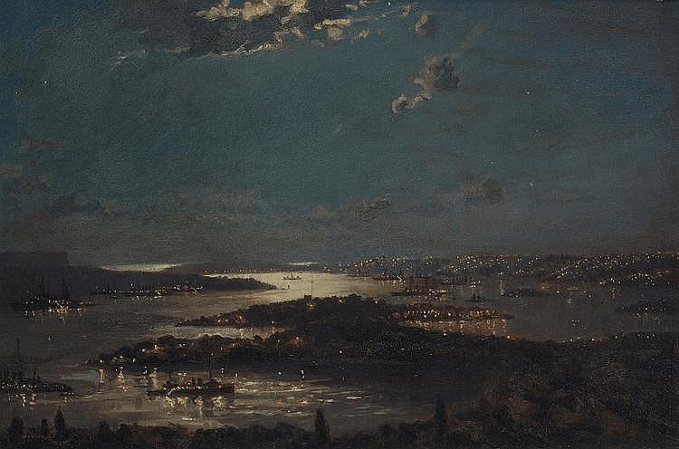 JOHN ALLCOT (1888-1973) Naval Fleet in Sydney Harbour at Night