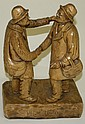 Gil Jac Cloutier signed carved wooden elderly