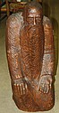 signed Ames folk art wooden carving of kneeling