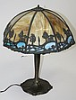 Vict slag glass shade table lamp w/ landscape