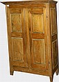 18th c Quebec pine armoire w/ double raised panel