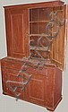 18th Stepback pewter cupboard, Hudson River two part pine having two raised panels drs over two doors over two raised panel drs on footed base in red pt w/spoon rack   ht. 83 1/2