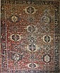 Kazak all-over medallion main carpet w/ 3 rows of 7 medallions  7' 10