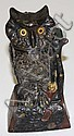1880 pat. Cast iron owl mechanical bank w/glass eyes