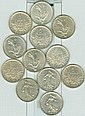 NUMISMATIQUE: Lot de 12 pices de 5 Francs argent,