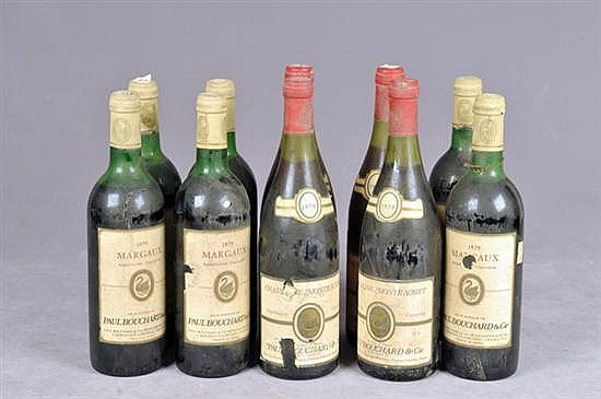 Margaux / Chassagne Montrachet. Cosechas: 1979. a) Margaux.  Cosecha 1979. Paul Bouchard & Cie. Piezas: 6. Otros. Piezas: 10
