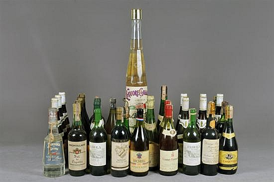 Lote de vinos. Diferentes marcas. Vino Tinto y Blanco. Alemania, Espaa, Francia, otros. Diversas cosechas. Total de piezas: 33.
