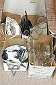 Four box lots; baking dishes, hair dryer, bowls, frying pans etc.