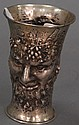 Continental silver mug, each side with devil's face, 7.7 t oz.