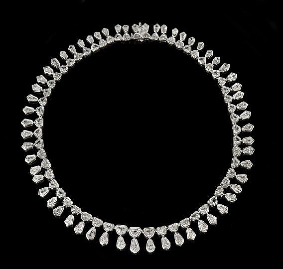 Lady's Platinum Vintage Diamond Necklace