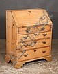 Chippendale pine slant top desk with good fitted interior, two small drawers over three full graduated drawers and bracket feet, c.1840, 32