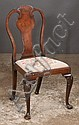 Queen Anne walnut side chair with urn shaped splat back, needlepoint cushion and on cabriole legs with shell carved knees and shaped pad feet, c.1890, 21