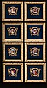 Collection of eight miniature paintings in bronze frames and mounted in gold gilt frames with cobalt blue velvet mats, overall size-9