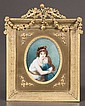 Oval miniature painting on ivory of a young lady and child, overall size-10