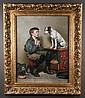 Oil painting on canvas, interior scene with a young boy and his dog on top of a box, canvas size 30