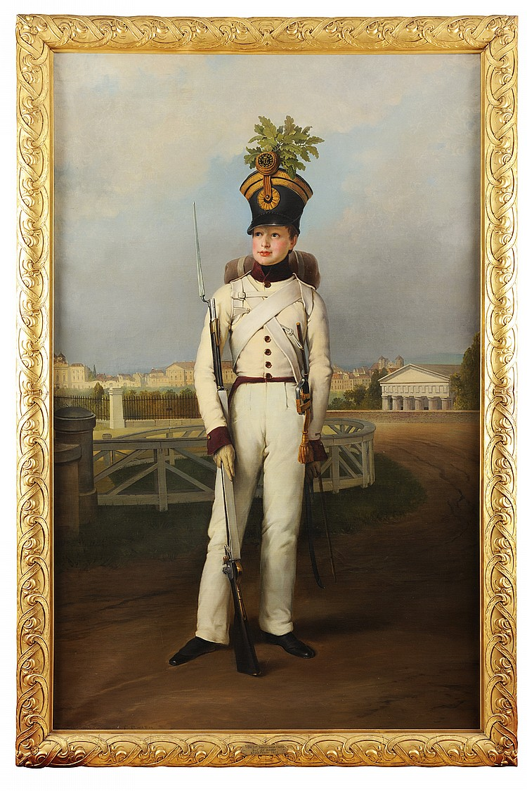 * PETER KRAFFT (HANAU 1780- VIENNE 1856) Portrait du Duc de Reichstadt (Napolon II) en uniforme blanc de sergent major du 1er rgiment d'infanterie, devant la Bellaria. Sign et dat en bas  droite  PKrafft. 1823. Wien . Huile sur toile.