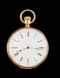 MONTRE DE GOUSSET en or jaune le cadran en mail blanc, chiffres romains, mouvement mcanique. Poids brut : 97,3 g  A yellow gold manual winding pocket watch