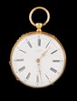 MONTRE DE GOUSSET en or jaune le cadran en mail blanc, chiffres romains, mouvement mcanique. Poids brut : 52,5 g  A yellow gold manual winding pocket watch