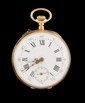 MONTRE DE GOUSSET en or jaune le cadran en mail blanc, chiffres romains, mouvement mcanique. Poids brut : 53,2 g  A yellow gold manual winding pocket watch