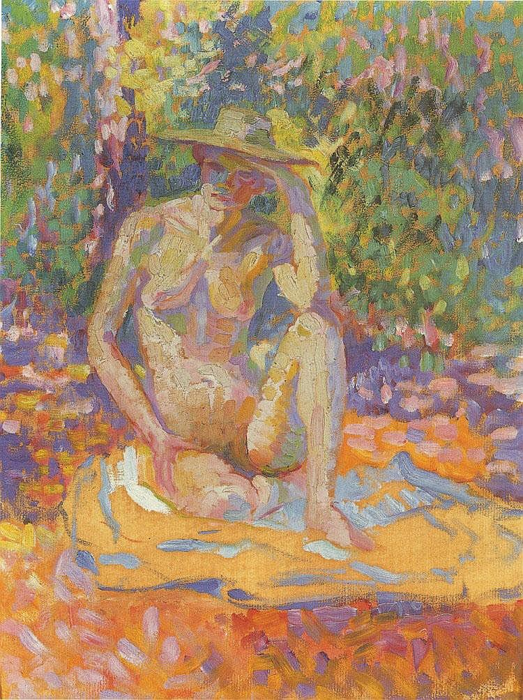 * Henri Edmond Cross (1856 -1910) Etude pour Nymphes: femme au chapeau, nu en plein air Huile sur papier marouflé sur toile 35 x 27 cm Peint vers 1906 Provenance : Galerie Druet, Paris Expositions : Hiroshima Prefectural Art Museum, Monet and Renoir: