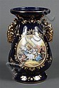 FRENCH COBALT BLUE LIMOGE PORCELAIN VASE - Same scene as proceeding lot. Painting is smaller; vase is different shape. Condition goo...