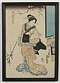 UTAGAWA KUNISADA (TOYOKUNI III) (1786-1865, Japan) WOODBLOCK ON PAPER - Woodblock showing a woman in a kimono holding a long branch...., Utagawa Kunisada, $20