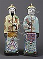 PAIR OF CHINESE CERAMIC FIGURES - Pair of Chinese ceramic figures, a man and woman in traditional dress. Condition good, no chips or...