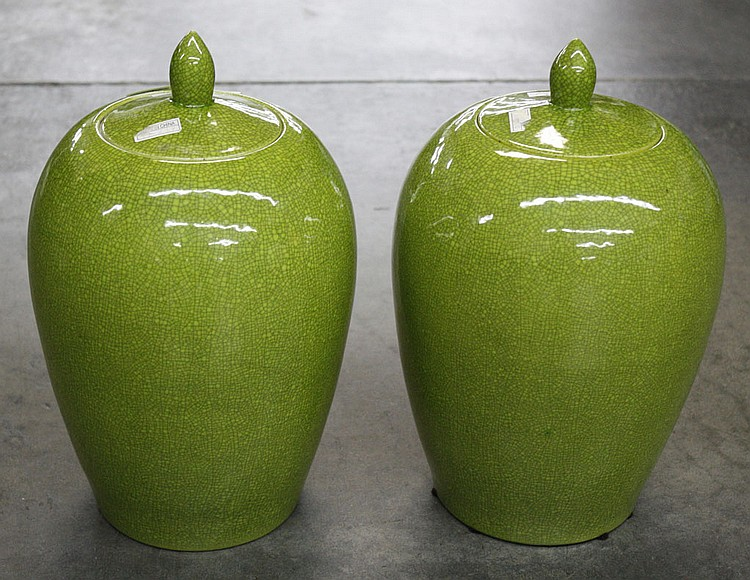 PAIR OF CHARTREUSE JARS WITH LIDS - Porcelain jars with lids and crackle glaze. Condition good. 12
