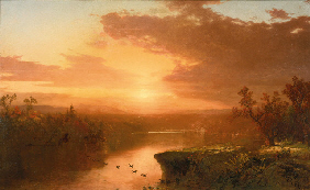 A New York collection JOHN FREDERICK KENSETT (1816-1872) Sunset over Lake George, 1867 signed with
