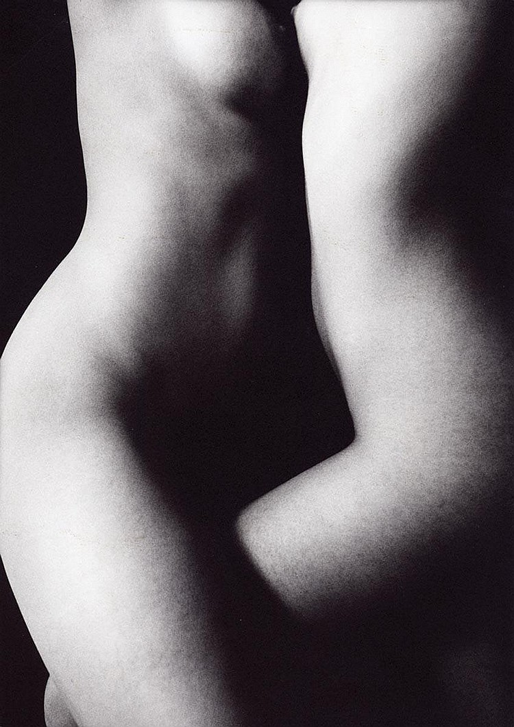 Milos Vojir: Two Female Nudes, 1986, silver print, unmounted, signed and dated by the photographer in pencil and the photographer's label on the verso; on matte photography paper.